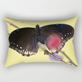 Tropical butterfly sitting on the colored bush over yellow background Rectangular Pillow