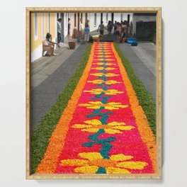 Making flower carpets Serving Tray
