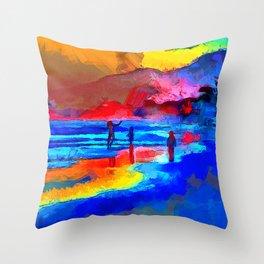 Joyful Beach Dancer Throw Pillow