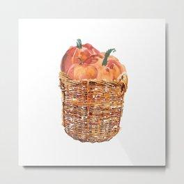 Autumn Basket of Pumpkins Metal Print