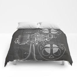 Film Projector Patent - Cinema Art - Black Chalkboard Comforters