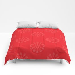 Snowflakes - red and white Comforters