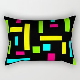 Abstract Theo van Doesburg Composition Neon on Black Rectangular Pillow