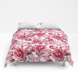 Watercolor blush pink red gray roses floral Comforters