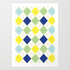 Argyle Plaid in Blue, Green and Yellow Art Print