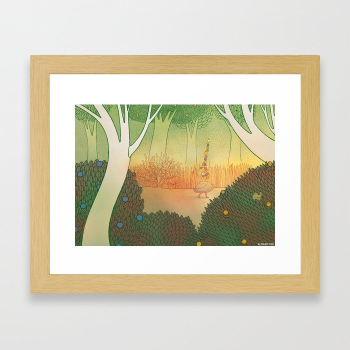 full of colorful fruits, she picked up a pile of them but, Framed Art Print