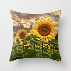 Sunflowers at Sunset Throw Pillow