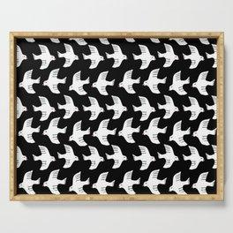 Fly black and white birds flying minimalist pattern art print Serving Tray