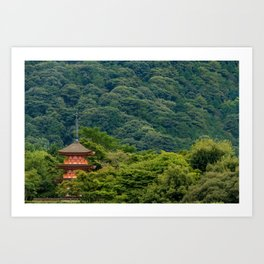 Japanese forest temple Art Print