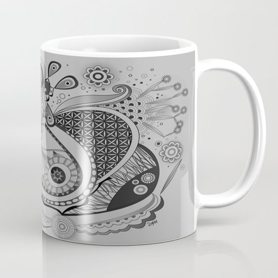 Ornate spring tangle, charcoal grey Mug