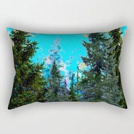 WESTERN PINE TREES LANDSCAPE IN BLUE Rectangular Pillow