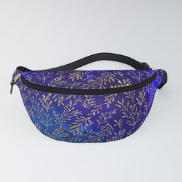 Glitter Gold Petit Leaves on Purple Blue Background Fanny Pack
