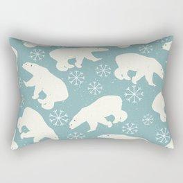 Polar Bears and Snowflakes - blue Rectangular Pillow