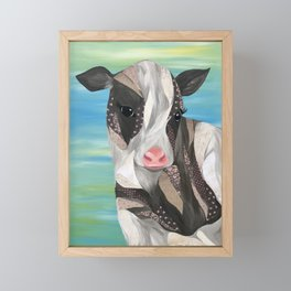 Black and White Cow Colorful Background Framed Mini Art Print