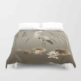 Heron and Lotus Flowers Duvet Cover