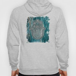 Silver Hamsa Hand On Turquoise Wood Hoody