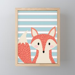 Cute fox illustration with stripes blue white and orange Framed Mini Art Print