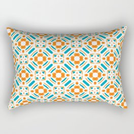 Origami Petals, blue and orange Rectangular Pillow
