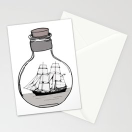 The ship in the glass bulb . Art . Stationery Cards