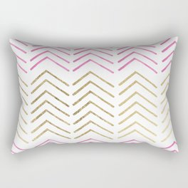 Pink faux gold watercolor tribal chevron pattern Rectangular Pillow