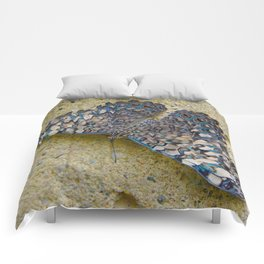 Turquoise and Sand Butterfly by Teresa Thompson Comforters