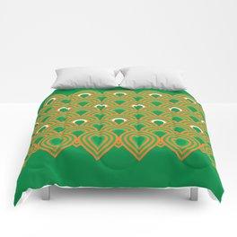 retro sixties inspired fan pattern in green and orange Comforters