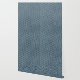 Blue Indigo Denim Waves Wallpaper