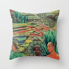 Green Lands Throw Pillow