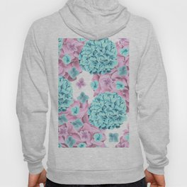 Modern girly pink teal watercolor hortensia pattern Hoody