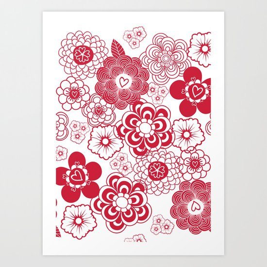 giving hearts giving hope: red garden Art Print