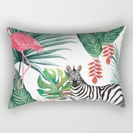 Tropical Pattern with Palm Leaves, Zebra and Flamingo Rectangular Pillow