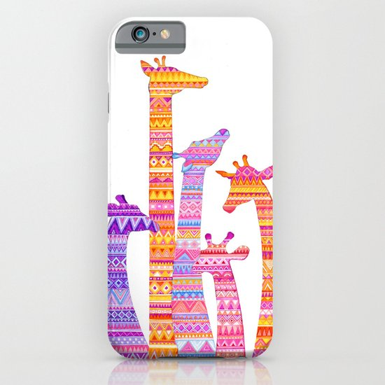 Giraffe Silhouettes in Colorful Tribal Print iPhone & iPod Case