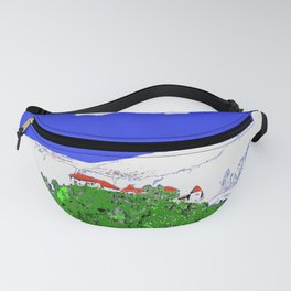 Lake Bled Castle on Cliff Paint on Photo Fanny Pack