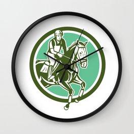 Equestrian Show Jumping Circle Retro Wall Clock