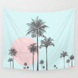 Beachfront palm tree soft pastel sunset graphic Wall Tapestry