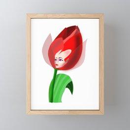Cute Tulip Girl Framed Mini Art Print