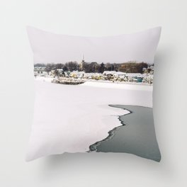 Frozen Ottawa River Throw Pillow