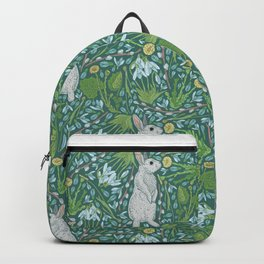 Grey hares with coltsfoots and snowdrops on green background Backpack