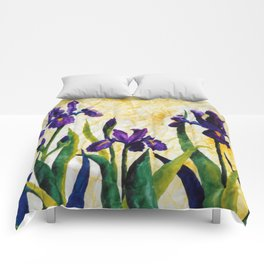Watercolor Wild Iris on Wrinkled Paper Comforters