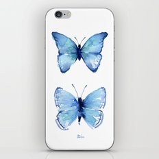 Two Blue Butterflies Watercolor Animals Insects iPhone & iPod Skin