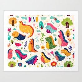 Funny dinosaurs Art Print