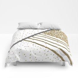 Geometrical white faux gold black stripes polka dots Comforters