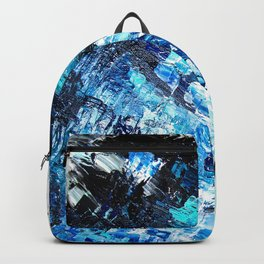 Under the sea | modern abstract hand painted blue turquoise acrylic painting Backpack