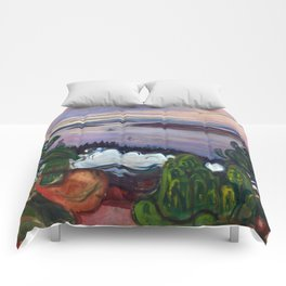 Train Smoke by Edvard Munch Comforters