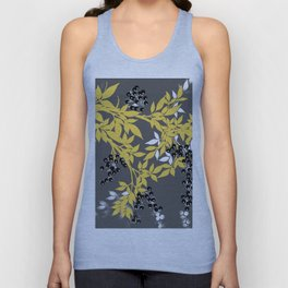 TREE BRANCHES YELLOW GRAY  AND BLACK LEAVES AND BERRIES Unisex Tank Top