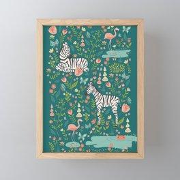 Wild Zebras in Green Garden Framed Mini Art Print