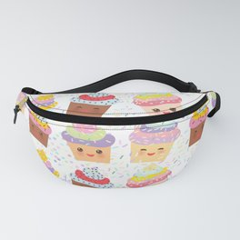 Cupcake Kawaii funny muzzle with pink cheeks and winking eyes, pastel colors Fanny Pack