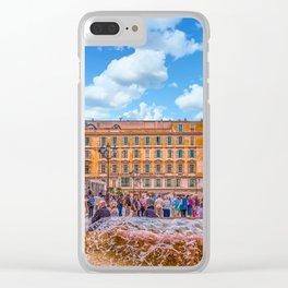 People in Nice Plaza with Fountain Clear iPhone Case