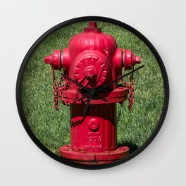 Red East Jordan Iron Works Fire Hydrant Fluted Fireplug Wall Clock
