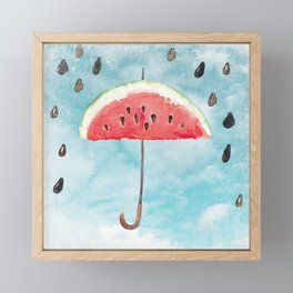 Melon - Fruity Summer Rain Framed Mini Art Print